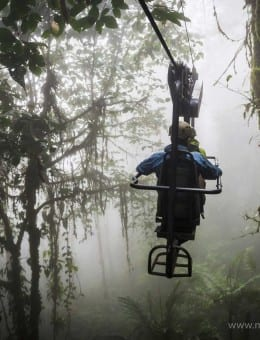 Ecuador. Mashpi Lodge Sky Bike on a misty morning in the Choco Rainforest, an area of Cloud Forest in the Pichincha Province of Ecuador, South America-2