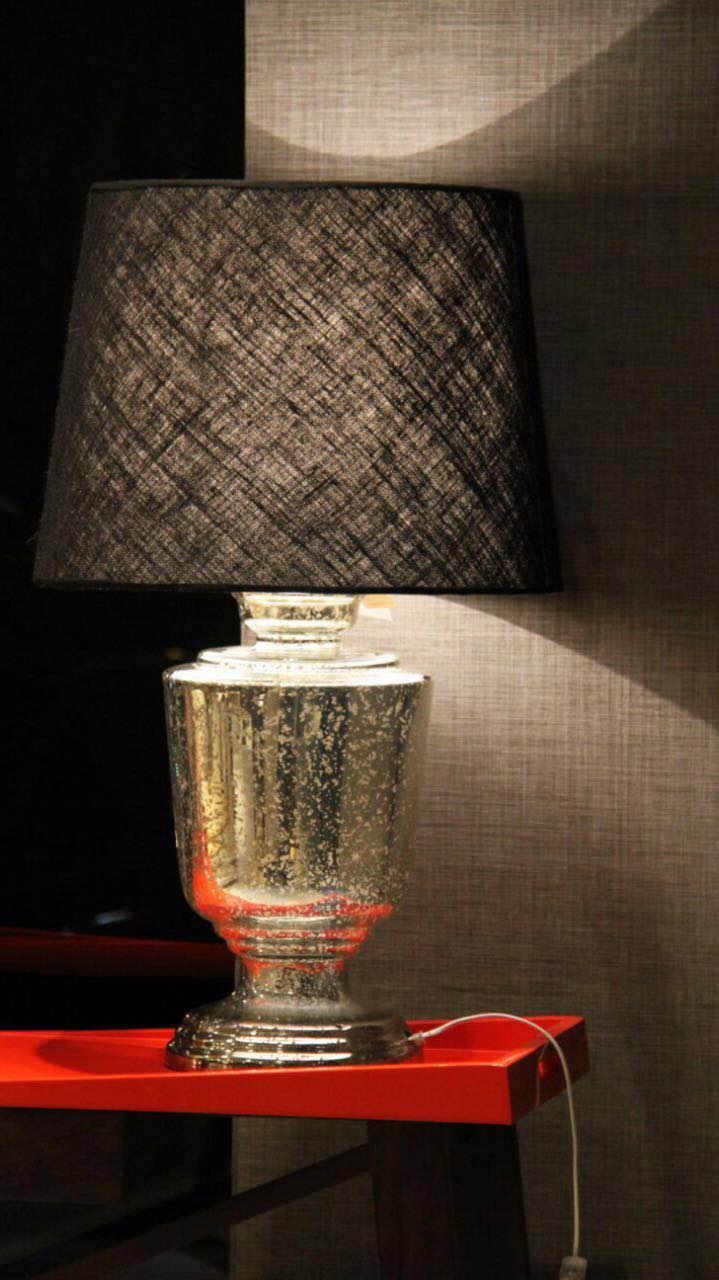 Velador de vidrio plateado