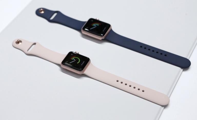Versions of the Apple Watch Series 2 are displayed during an Apple media event in San Francisco