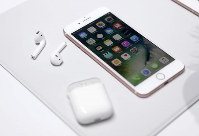 The Apple iPhone7 and AirPods are displayed during an Apple media event in San Francisco