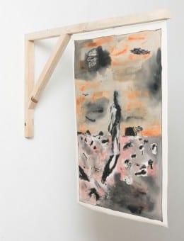 Bandera (lado 1) - Soporte de madera. Acri¦ülico, marcador y birome sobre gabardina - 96 x 126 cm - 2016
