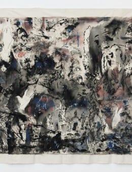 Batalla - Acri¦ülico, birome, marcador, pintura para tela y latex sobre gabardina - 170 x 210 cm - 2015