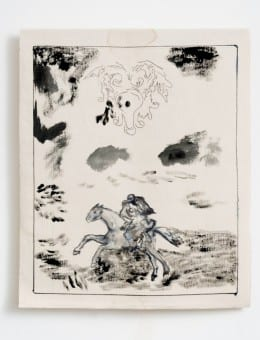 Huida - Acri¦ülico, marcador de tinta al agua y birome  sobre gabardina - 64 x 52 cm- 2015