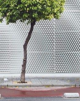 East facade_Printed ceramic pieces cover the facade