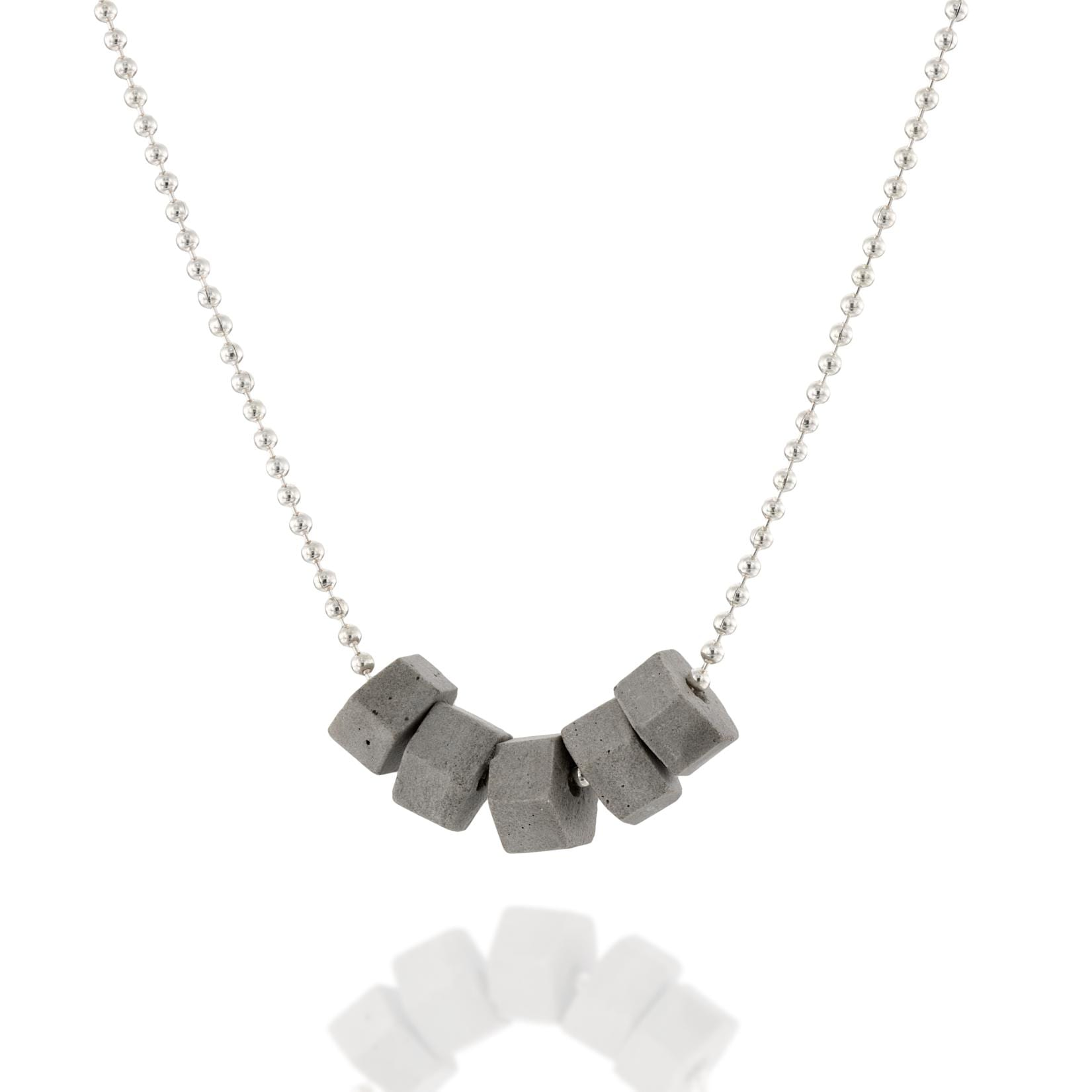 Tiny Concrete Hexagons Necklace-Silver-BAARAJewelry-high res