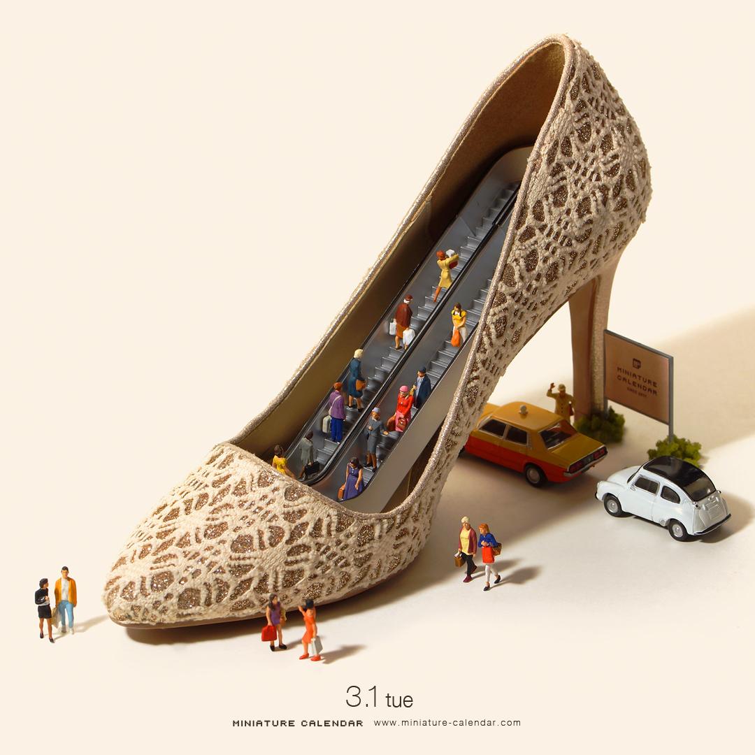 miniature-calendar-shopping-mall-high-heel-shoes