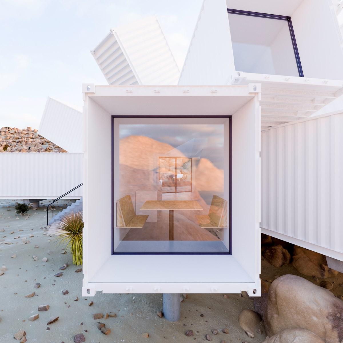 Cristal de Container - Ubicada en Joshua Tree, en California, Estados Unidos, esta vivienda crece en una ladera de montaña.