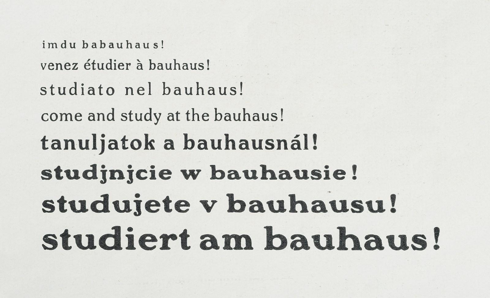 "annes Meyer (editor de la revista de diseño Bauhaus 2/3), ""¡estudien en la bauhaus! / study at the bauhaus!"", 1928  Foto: A. Körner (bildhübsche Fotografie) / Gentileza ifa"