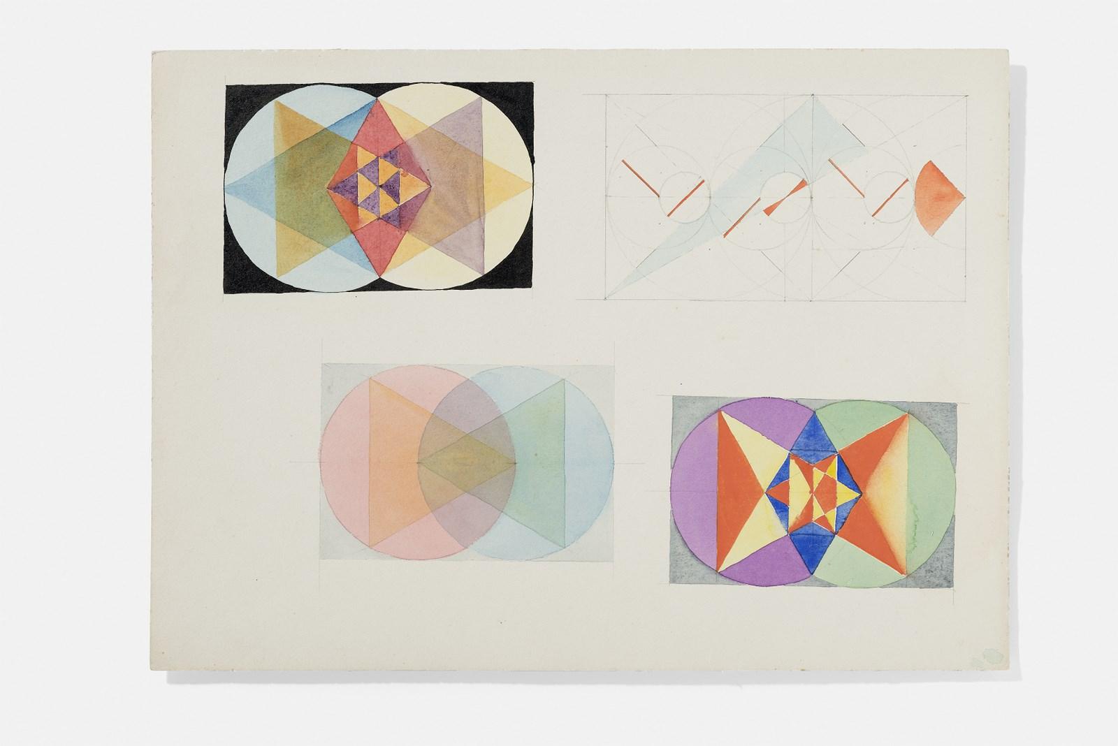 Dibujo atribuido a Marianne Ahlfeld-Heymann. Ejercicio para las clases de teoría de la forma pictórica dictadas por Paul Klee. 1923-1924.   Foto: A. Körner (bildhübsche Fotografie) / Gentileza ifa