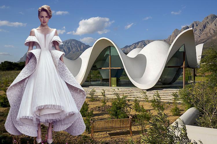 La moda y la arquitectura a menudo se inspiran en la naturaleza y sus formas curvas, que dan como resultado formas orgánicas. Capilla distinguida entre olivares en Sudáfrica diseñada por Steyn Studio y la colección Ashi Studio Haute Couture AW17-18.