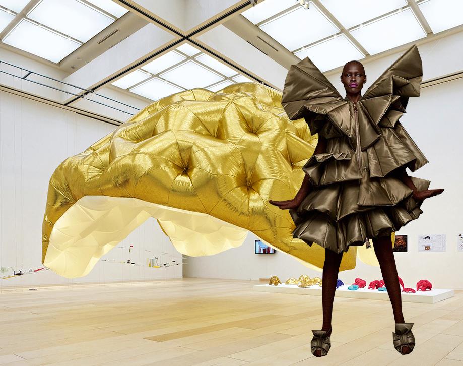 Las estructuras inflables en moda y arquitectura apuntan a objetos de arte. Instalación de Golden Balloon en la exposición Tokyo Mot 2014 por AMID.CERO9 y colección Action Action Haute Couture AW17 por Viktor y Rolf.