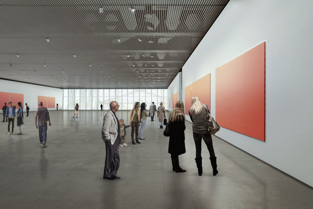 Rendering of the Gallery on Level 4 courtesy Diller Scofidio + Renfro in collaboration with Rockwell Group