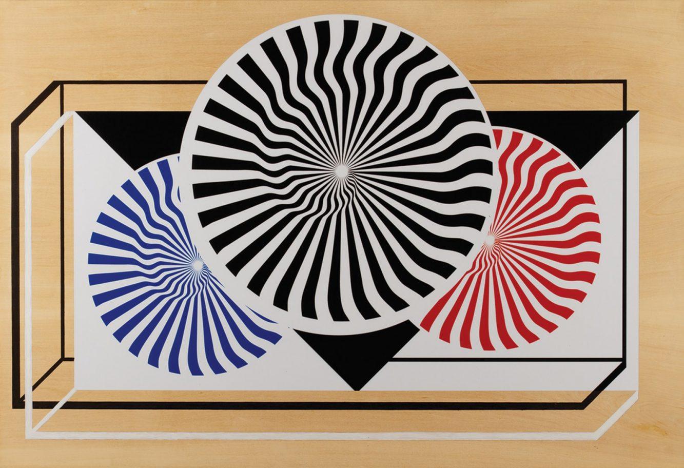 Margarita Paksa, Comunicaciones (1968-2000), panel de madera de guatambú enchapada, pintura acrílica, 65 x 95 x 2 cm, serie 6 ambientes en madera - Ph: Gian Paolo Minelli.