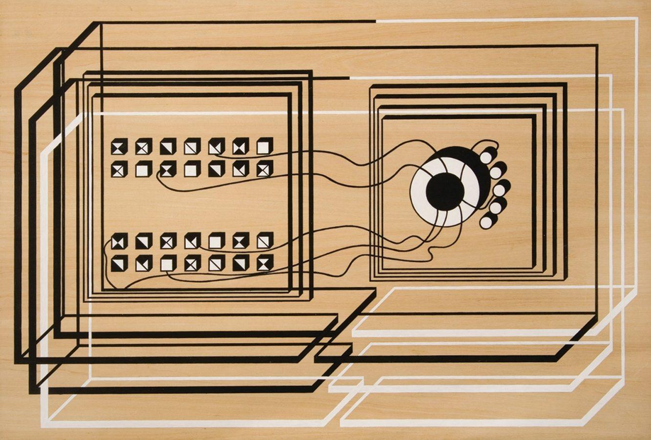 Margarita Paska, Mesa Redonda. Esto es un Juicio (1967), Serie 6 ambientes en madera Panel de madera guatambú enchapada y pintura acrílica blanca y negra 65 x 95 x 2 cm